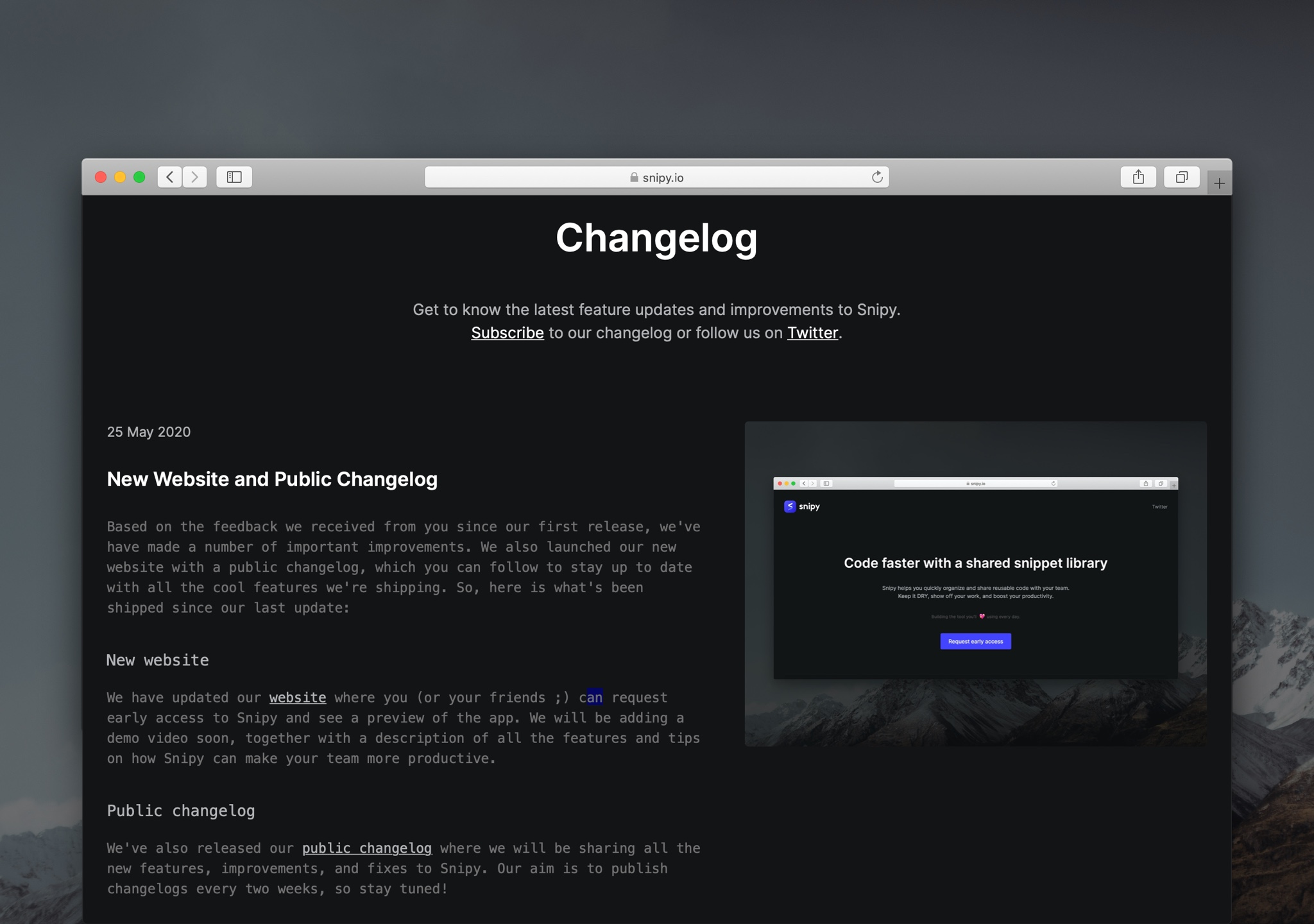 New Website and Public Changelog